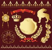Set of gold heraldic symbols with wolf. Vector illustration.