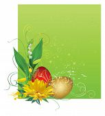 picture of easter flowers  - Frame with Easter eggs and flowers - JPG