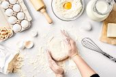 Baker Preparing To Knead The Dough, Top View. Cooking, Bakery Concept. Still Life. Flat Lay. White B poster