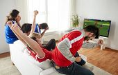 sport, people and entertainment concept - happy friends or football fans watching soccer game on tv  poster