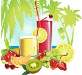 Juice and fruits. All elements and textures are individual objects. Vector illustration scale to any