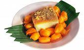 Ancient Thai Dessert. Sweet Egg Floss. Thai Dessert Golden Threads,bean-paste And Egg Yoke Fudge Bal poster