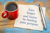 Live longer and better by finding your purpose - handwriting on a napkin with a cup of coffee poster
