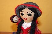 stock photo of chola  - peruvian doll doll peru mother and child doll andean dolls traditional shapes chola and cholito - JPG