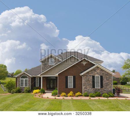 Brickand Stone Suburban Home