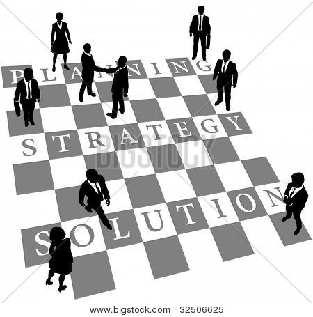Business people as human chess or checkers pieces on board of Planning Strategy and Solution