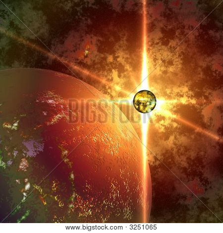 Abstract Planet And Sun In Space