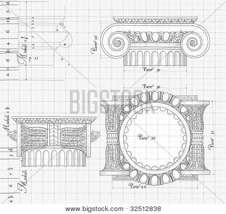"Blueprint - hand draw sketch ionic architectural order based ""The Five Orders of Architecture"" is a book on architecture by Giacomo Barozzi da Vignola from 1593. Bitmap copy my vector"