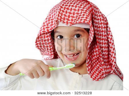 Arabic Muslim kid brushing teeth