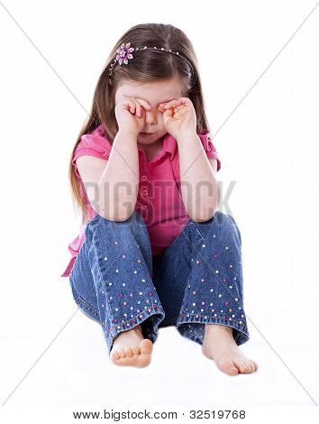 Sad Little Girl Isolated On White