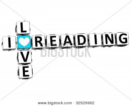 3D I Love Reading Crossword Block Text