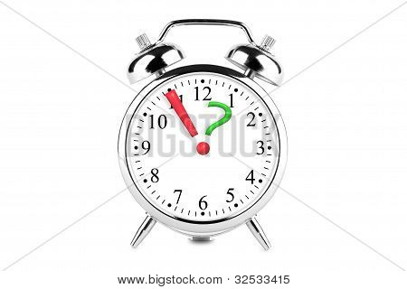Exclamation And Question Mark On The Alarm Clock