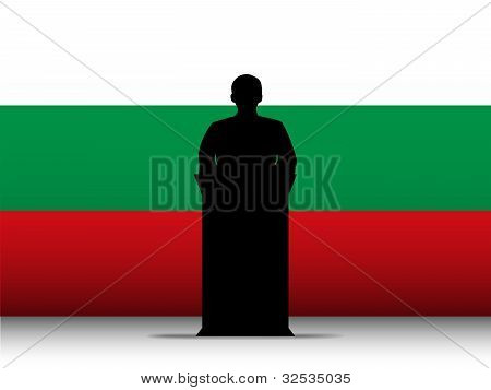 Bulgaria Speech Tribune Silhouette With Flag Background