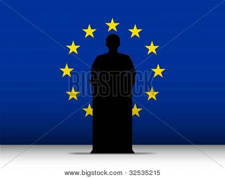Europe Speech Tribune Silhouette With Flag Background