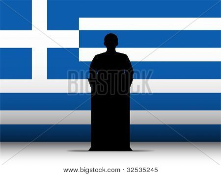 Greece Speech Tribune Silhouette With Flag Background