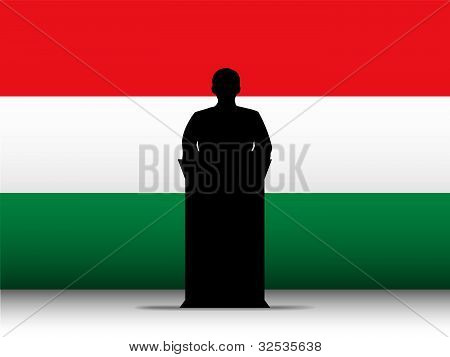 Hungary Speech Tribune Silhouette With Flag Background