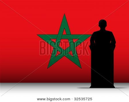 Morocco Speech Tribune Silhouette With Flag Background