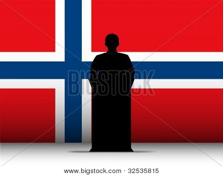 Norway Speech Tribune Silhouette With Flag Background