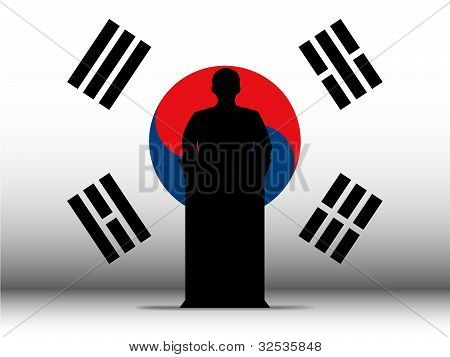 South Korea Speech Tribune Silhouette With Flag Background