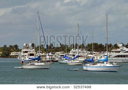 Sailboats at Anchor