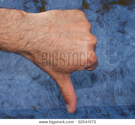"Man's hand showing ""false"""