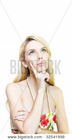 Dreaming Woman Isolated On White Background
