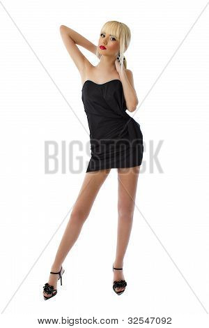 Young Stunning Blonde Lady In Black Little Dress