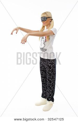 Sleepwalking Beautiful Blonde Girl In Pajamas