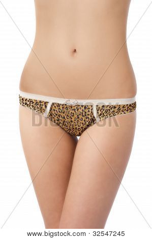 Fit Body Of Beautiful Young Woman In Leopard Panties