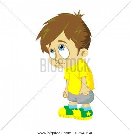 comic illustration of sad boy isolated on white background