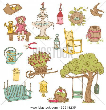 Colorful Summer Garden Doodles - for scrapbook, design in vector