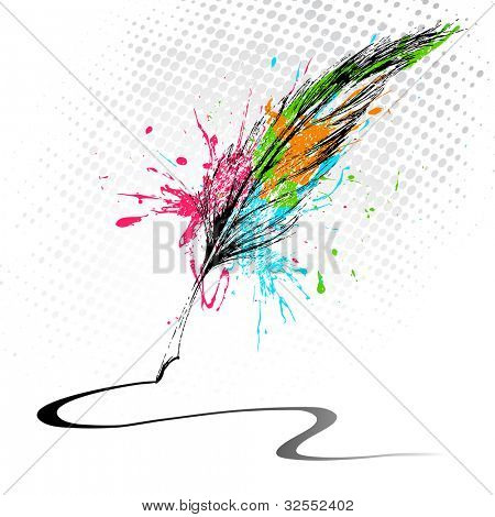 illustration of abstract grungy feather making line on white background