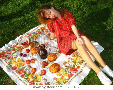 Girl And Picnic