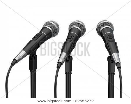 Microphones isolated on white background
