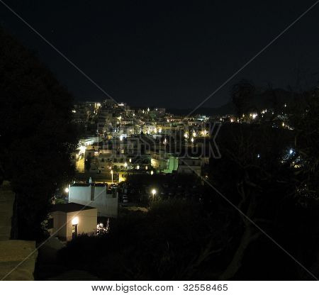 City Of Naxos In Greece At Night