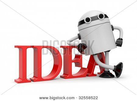 Robot leaning on idea