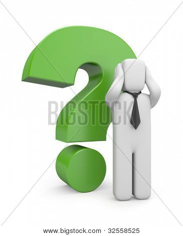 Businessman with green question mark. Image contain the clipping path
