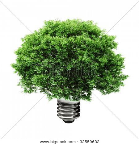 3d tree in a lightbulb, green energy concept