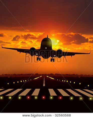 Airplane Take Off During Sunset