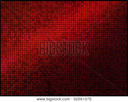 Multicolor Abstract Lights Red Disco Background. Square Pixel Mosaic Vector