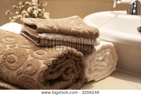 Stack Of Colorful Towels In The Bathroom