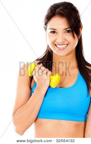 Fit woman lifting weights - isolated over a white background
