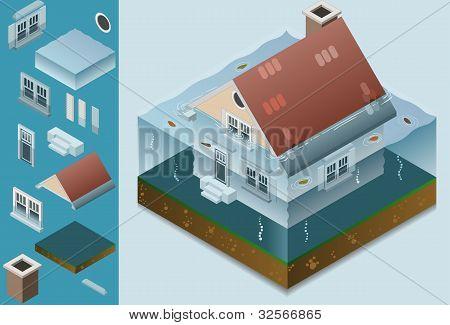 isometric flooded house