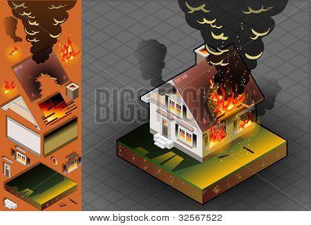 Casa isométrica en fuego