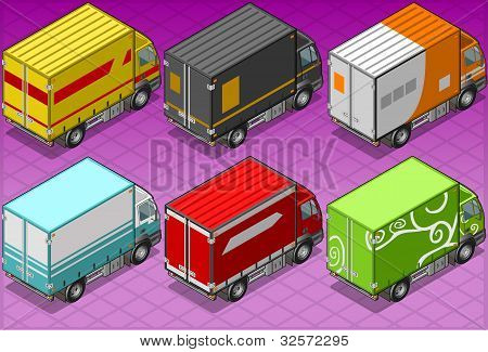 Isometric Delivery Truck In Six Livery