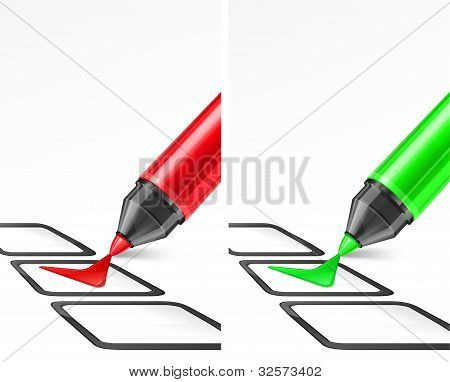 Green And Red Markers With Check Mark