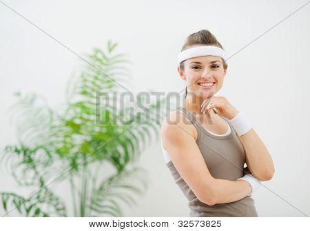 Portrait Of Happy Healthy Woman In Sportswear