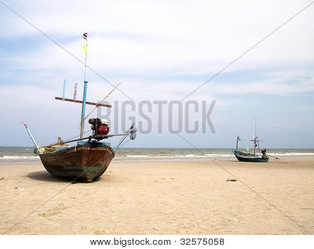 Boats On The Beach, Huahin, Thailand