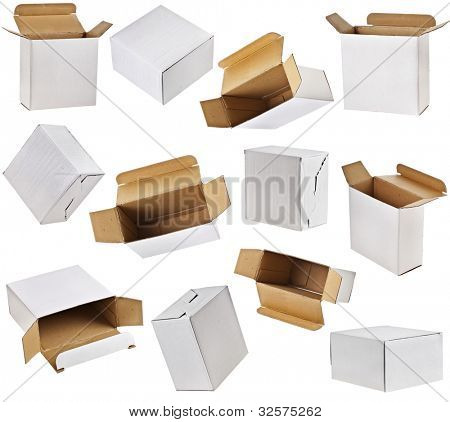 collection cardboard boxes isolated