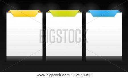 Set of vector cards with origami style top for multiple options, product versions, etc.  on dark background. Stylish and  trendy for your web usage, product  comparison or business presentation. EPS10